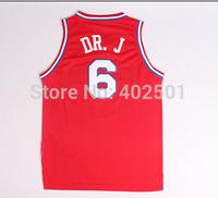 Free Shipping  # 6 Julius Erving Jersey DR.J  Nickname Basketball Jersey - S-XXL