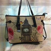 3 In 1 Newspaper Style Totem Women Big Capacity Composite Bag Vintage Ladies Rose Print Shoulder Tote Handbag