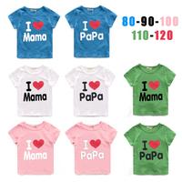 Baby Clothes papa mama love me baby t shirt cotton T-Shirt boys girls short shirt kids Tees infant vest children gift