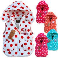 2014 New Girls Vest Children Outerwear Kids Dot Vest Girl Cool Coat Soft thicking Girl Waistcoat