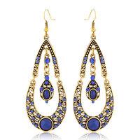 New Bohemia Vintage Gold Big Water Drop Imitation Gemstone Crystal Dangle Earrings for Women Men Jewelry brincos argola bijoux