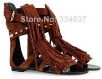 2014Fashion Tassel Ankle Wrap Women Sandals Summer Brown Fringe Women Flats Shoes Buckle Decor Women Shoes High Quality Dropship