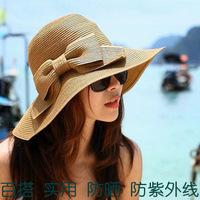 2014 solid chapeu feminino hats for women gilrs straw beach hat woman floppy sun block female anti uv folding with ribbonbow tie