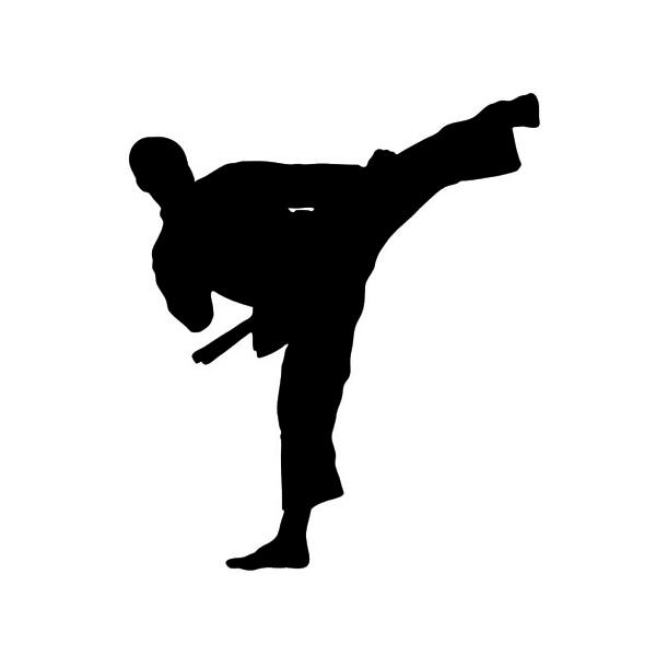 Karate-Taekwondo-Kung-Fu-Sign-Decal-vinyl-Sticker-For-Laptop-Wall    Black Karate Cartoon