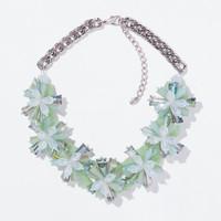 2014 Newest Za Brand Crystal Flowers Collar Necklace Luxury Statement Flower Necklaces & Pendants Fashion Jewelry Women