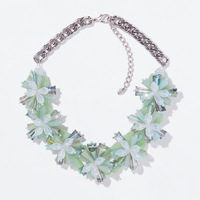 2014 Newest Za Brand Crystal Flowers Collar Necklace Luxury Statement Flower Necklaces & Pendants Fashion Jewelry Women