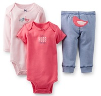 wholesale 2014 new arrival ,carter's  baby girl 3pc layette set, 100% cotton, baby summer clothes,5sets/lot,Free Shipping