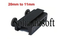 10pcs/lot 20mm Dovetail to 11mm Rifle Scope Mount Weaver Picatinny Rail Base See Through Adapter