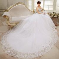 2014 New spring  long tail bridal white Large size Wedding Dresses Luxury diamond straps seaside beach wedding Dresses