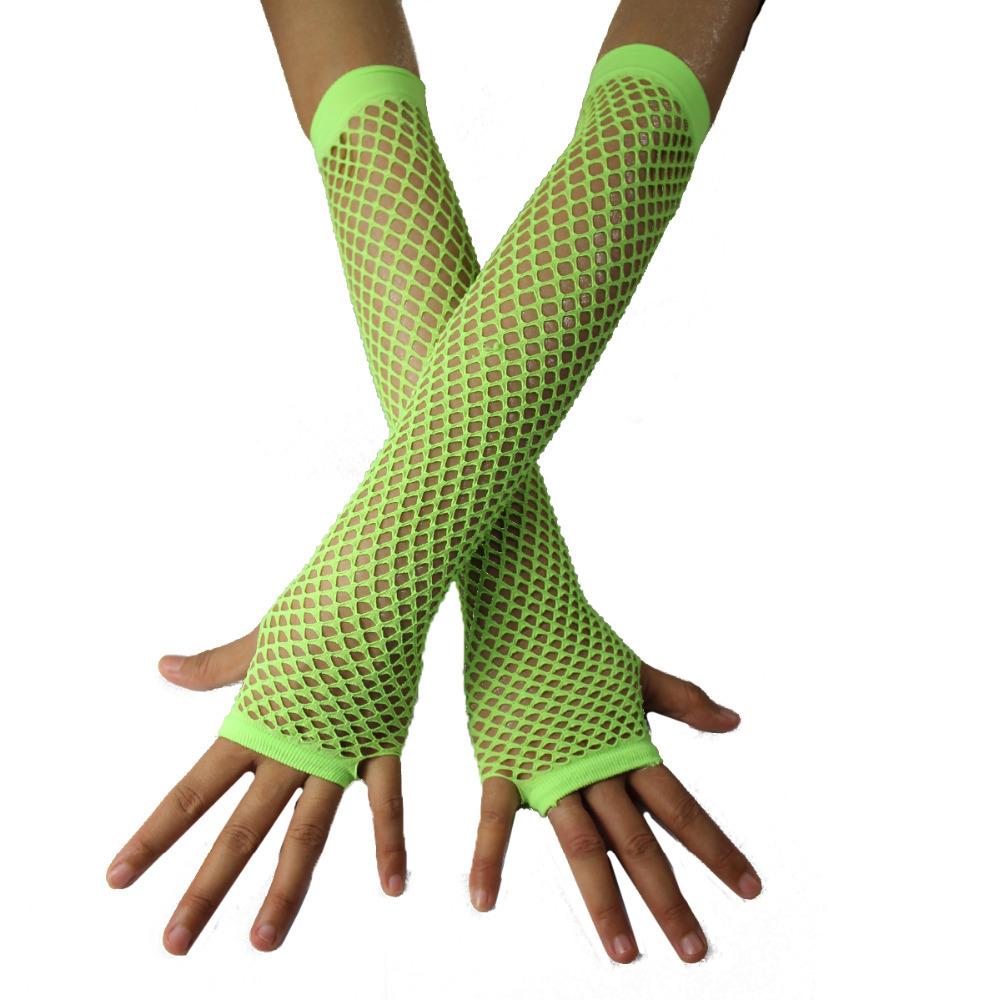 Green Fishnet Gloves Dark Green Fishnet Gloves