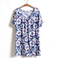 4XL 5XL 6XL Big Size Women Floral Print Blouse Cotton T-Shirt Tee Top Oversize Plus Large Size XXXXL XXXXXXL 2014 New Summer