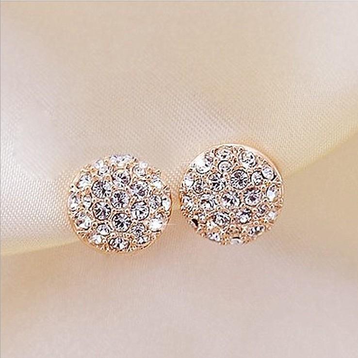 2015 New !!! Upscale Jewelry Wholesale Refined Elegance Inlaid Full Rhinestone Round Dazzling Gold Stud Earrings For Women E-67(China (Mainland))