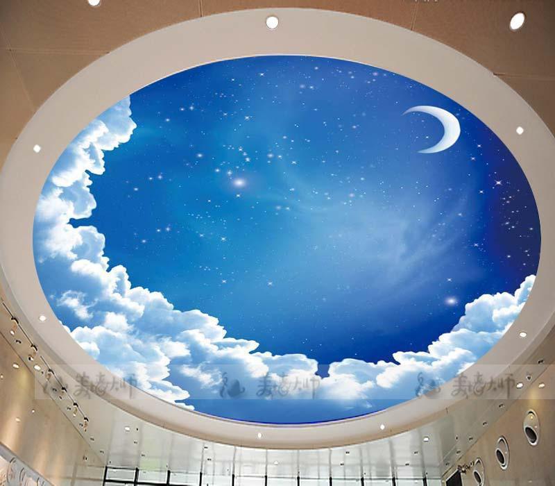 Decke Tapete Sternenhimmel : Sternenhimmel rundgewebt tapete decke tapete wandbild blauer himmel