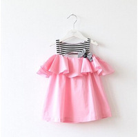 new 2014 summer  girls striped t-shirt dress sling, baby strapless dress stitching