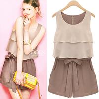 Dropshipping !2014 Europe and America Hot sale Sleeveless jumpsuits Plus size Chiffon jumpsuit