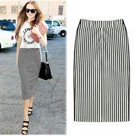 Size S-XL Fashion Summer Women Cotton Straight Elastic Waist Stripped Holiday Street All Match Skirts Free Shipping LJ942