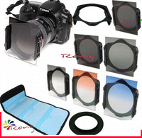 9PCS  6 filter Kit /58mm Ring Adapter + ND2 ND4 ND8 gradual Gray Blue Orange filter  for  Cokin P
