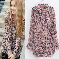 2014 Spring New Korean Leopard Stand-Up Collar And Long Sections Chiffon Long-Sleeved Shirt Blouse free shipping 6130714