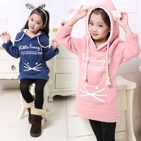 Retail Cute Children Hoodies 2014 New Fall&Winter Thicken Polar Fleece Cat Children's Wear Kids Clothes C10