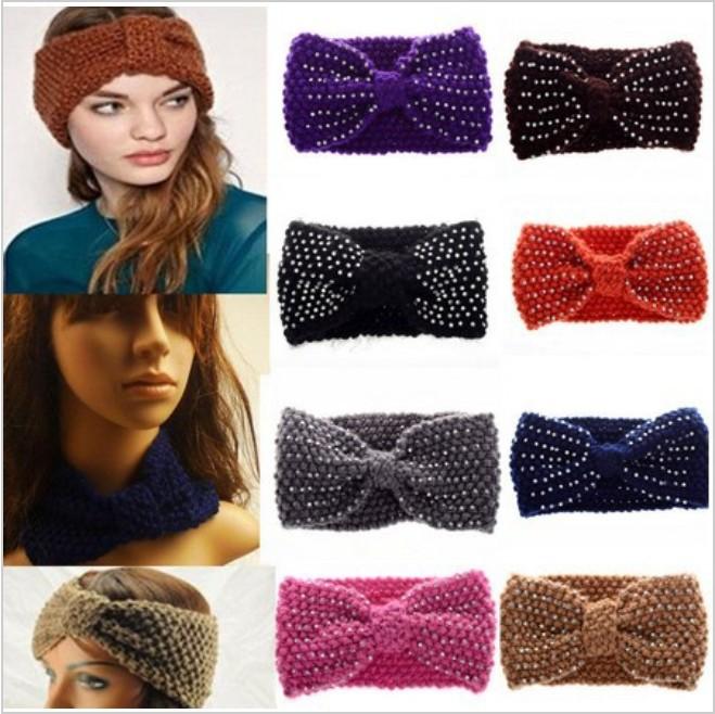 2014 New Korean Twist Knitted Bow Flower Headwrap Headband Winter Warmer Head Hair Band Accessories Free Shipping(China (Mainland))