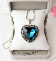 Pendant necklace big gem accessories vintage silver long chain necklace female summer heat