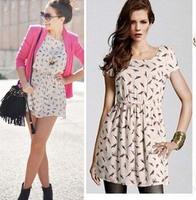 2014 Bargain HOT selling dress  Women Spring Summer New Fashion Animal Bird Print Vintage Mini Dress, Plus Size S-XXXL 0019