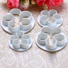 4Pcs / Set Rose Flower Fondant Bolo Cookie Cutters Decoração Sugarcraft Mould DIY ferramentas Ferramentas Bakeware(China (Mainland))