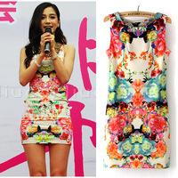 2014 summer dress o-neck women's angelababy vintage printslim cotton short design sleeveless one-piece dress mini dress sundress