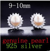 925 silver jewelry 9-10mm pearl earrings genuine natural fresh water pearls bead earring sunflower style white pink purple