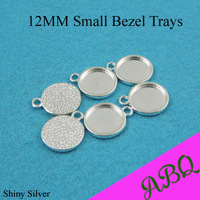 50 Pieces Silver Cabochon Settings, Small pendant Bezel Blanks Fits 12mm Glass Cabochon