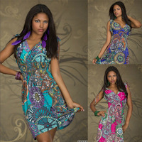 2014 Free Shipping New Fashion Print Vintage M, XXL Size Deep V Summer Sundresses For Women