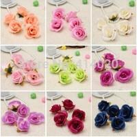 100pcs/bag  6CM Diameter Silk Rose Flower Head Handmade Diy Wedding Car Decoration Flower  10Colors