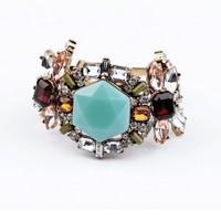 Exaggerate Vintage Crystal Flower Charm Bracelet For Women