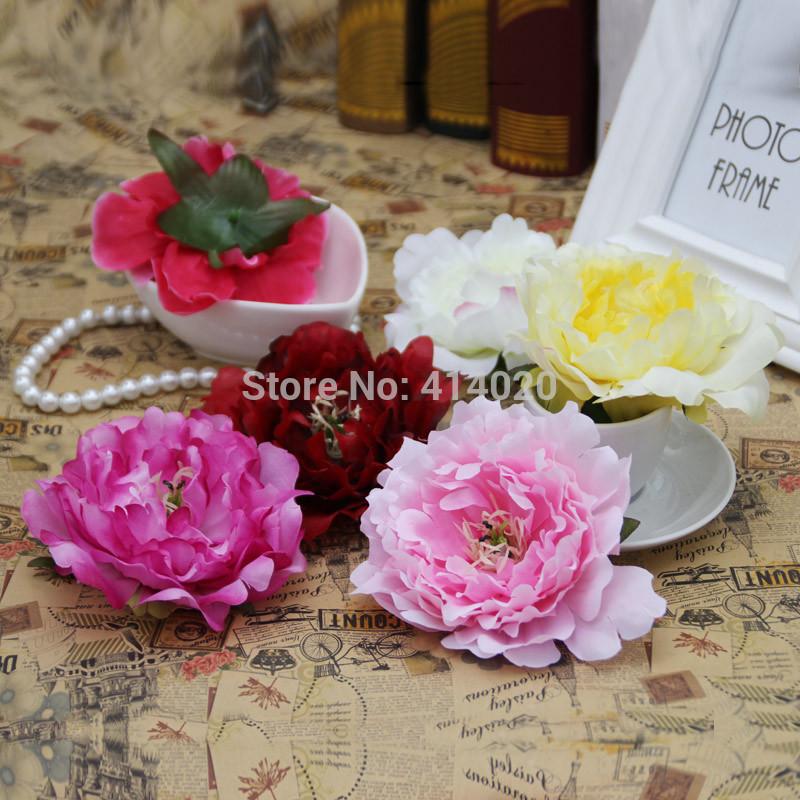 100pcs/bag 12CM Diameter Big Size Silk Tree Peony Head Handmade Diy Wedding Car Decoration Party Decor Gift Flower 7 Colors(China (Mainland))