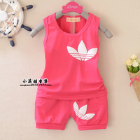 2014 New Wholesale Frozen Summer Children's clothing sets baby boys grils pullover casual vest set five colors 0-3year free