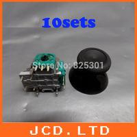 DIY Replacement 3D analog Joystick + mushroom Cap for XBOX ONE - Black 10sets=-10pcs joysticks  & 10pcs caps