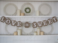 2014 New Design Romantic Wedding Bunting LOVE IS SWEET Party Garland Banners DIY Handmade