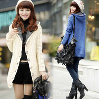 free shipping 2014 new fashion women's sweater coat candy color long coat knitted tops casual sweater coat 2060
