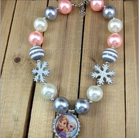 2pcs/lot Chunky Bubblegum Snowflake Frozen Anna&Elsa Bottle cap kids pendant necklace new