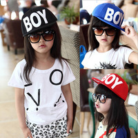 Free Shipping 2014  Brand Children BOY Letter Snapback Baseball Hats Baby Caps Boys/Girls Sun-Shading Kids Hip-hop Cap XHM017