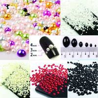 Free shipping 1000pcs/bag mixed 2 3 4 5 6 8 10mm ABS imitation pearls half round flatback pearls for DIY decoration