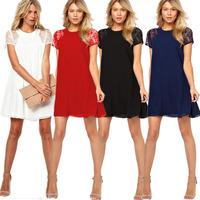 2014 Summer Spring New Elegant Women Chiffon Dress O-Neck Lady Lace Dress Mini Dress Womens Casual Dress 4 Colors Plus Size XXL