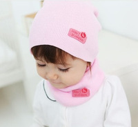 Retail Fashion Winter Cap Baby Girls Boys Warm Hat with ring scarf Children Hat and Scarf set 1set H346
