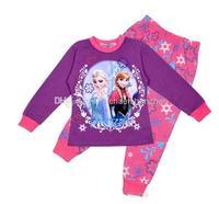 Wholesale - children clothing girl girls frozen elsa and anna long sleeved sleeve winter pajamas pyjamas sleepwear