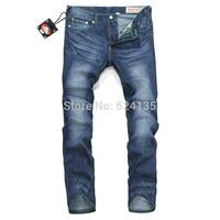 Wholesale 2014 new Men's Slim Fit Classic Jeans Trousers Straight Leg Grey men jeans famous brand designer