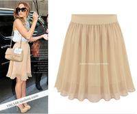 2014 summer bust skirt summer women's chiffon skirt medium half-skirt solid color all-match fashion small fresh