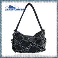 2014 women's jean geniue leather handbag fashion shoulder vintage big rivet denim bags punk square shape bolsa