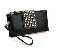 2014 women purse wallet new style fashion metal Rivet handbag women high quality  leather bags