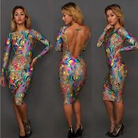 EAST KNITTING SJ16010 Summer Dress 2014 Women Long sleeve party bandage dresses oil painting sexy club dress