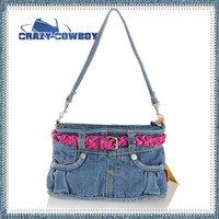 Fashion Personality Cute Design Women Mini Denim Bag Totes Ruffles Discount Sale Blue Jean Pocket Hanndbag Bolsa Shoulder Bags
